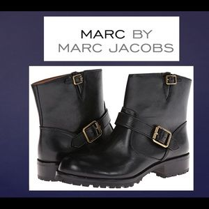 Marc by Marc Jacobs Black Leather Engineer Boots
